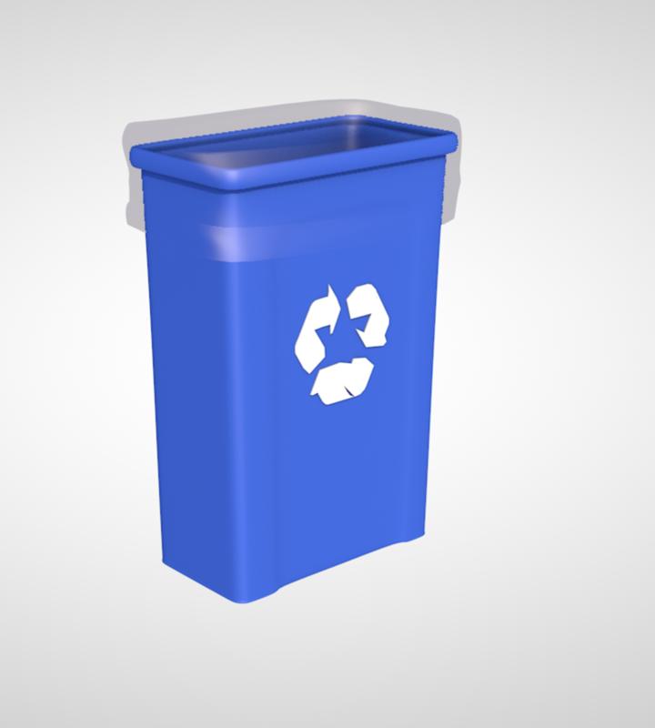 3D office recycle bin model