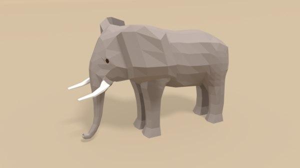 cartoon african elephant 3D