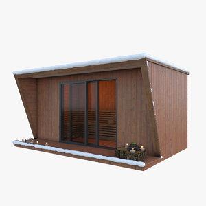 outdoor sauna snowy kiosk 3D
