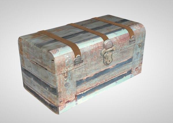 3D trunk vintage steamer model