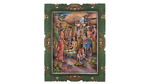 3D balinese picture green frame model