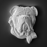 Dog Head Relief Sculpture