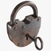Old Padlock With Key