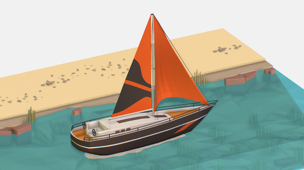 isometric black yacht scene 3D model