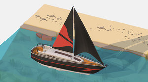 3D isometric black yacht scene