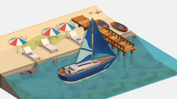 3D isometric blue yacht scene
