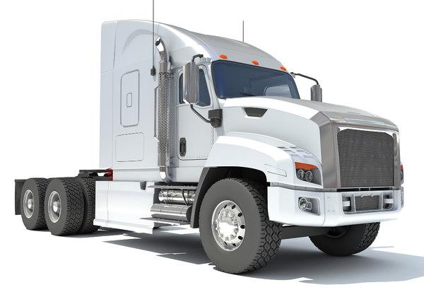 3D white freightliner truck model
