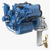 3D nanni marine diesel engine