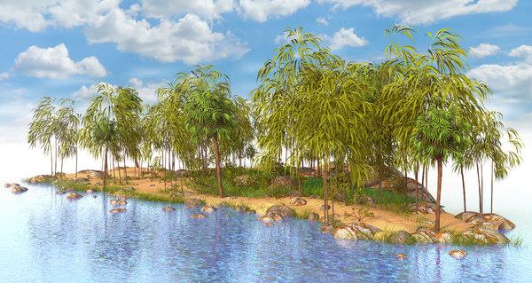3D bamboo island