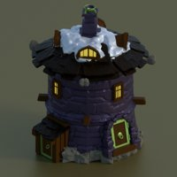 round stone house for games castle wall set