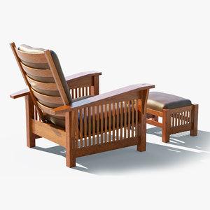 3D craftsman stickley chair ottoman
