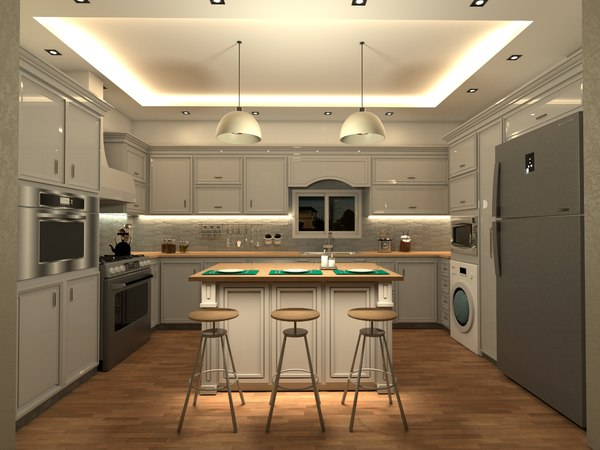 3D model kitchen v-ray