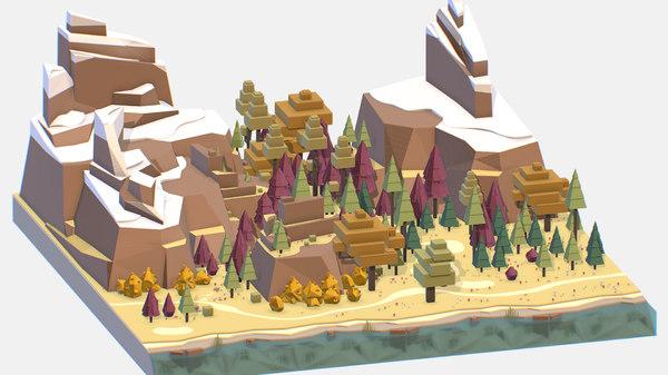 3D isometric style autumn big