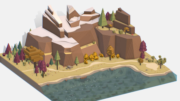 3D isometric style lake autumn model