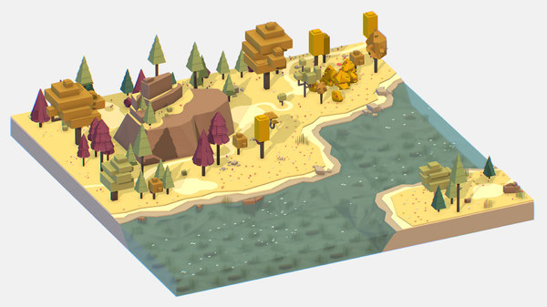isometric style autumn mountain landscape model