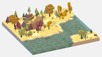 isometric style autumn mountain landscape model