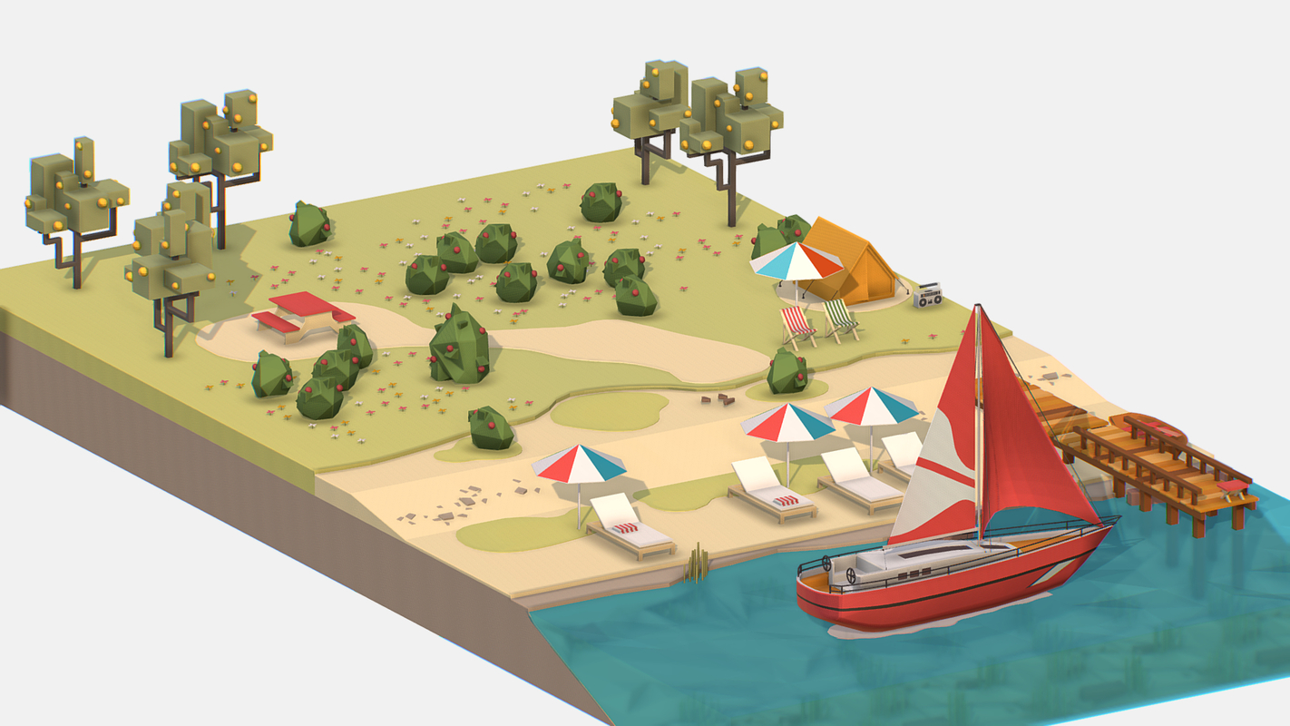 3D isometric red yacht scene