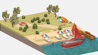 3D isometric red yacht scene