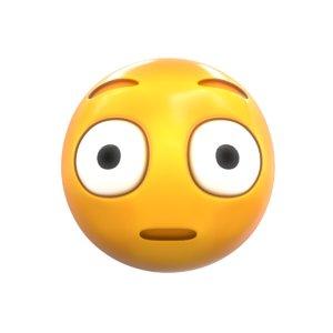 3D emoji flushed face model
