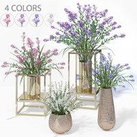 3D 4 colors lilac pots