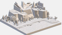 3D isometric style grey mountain landscape