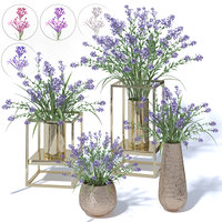 4 colors lilac in vases and pot stands