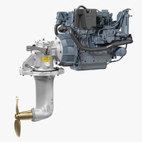 3D marine diesel saildrive engine