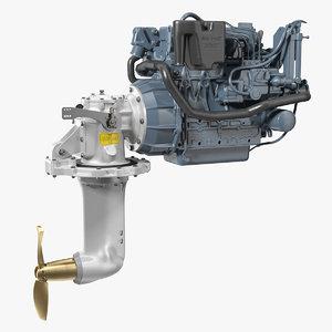 3D marine diesel saildrive engine