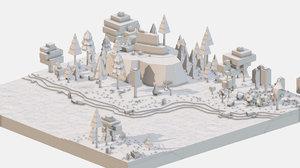 isometric style grey mountain landscape 3D