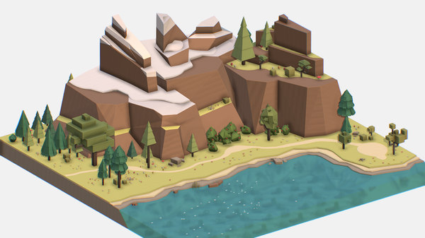 3D isometric style lake summer model