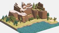 3D isometric style lake summer model