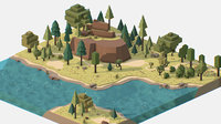 Isometric style summer mountain landscape river