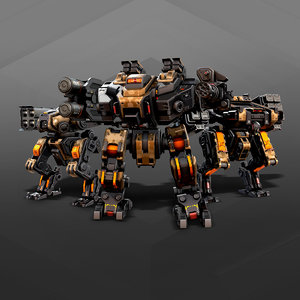 3D model 3 mechas animations