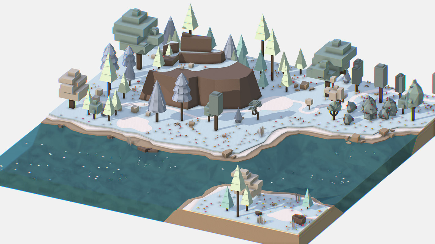 Isometric Style Winter Mountain Landscape 3D Model