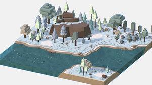 isometric style winter mountain landscape 3D model