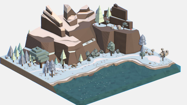 isometric style lake winter 3D