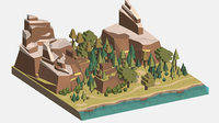 Isometric style summer big mountain landscape