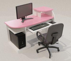 3D computer desk desktop model