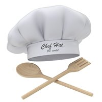 Chef Hat with Wooden Fork and Spoon