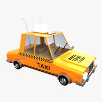 3D model cartoon taxi