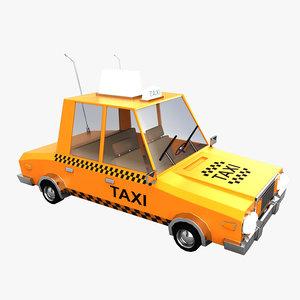 3D model cartoon taxi