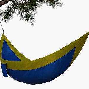 rigged hammock hanging trees 3D model