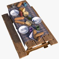 3D breakfast food table model