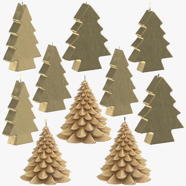 3D golden christmas tree shaped