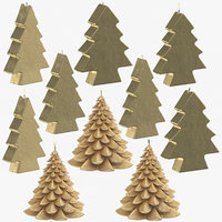 3D golden christmas tree shaped