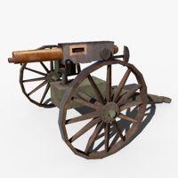 qf 1-pounder pompom cannon 3D model