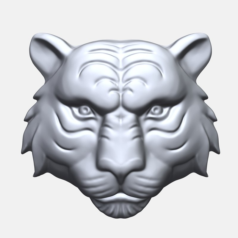 tiger face bas relief model