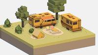 yellow tourist van halt 3D