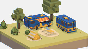 3D isometric blue tourist van