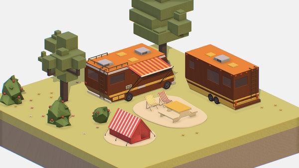 3D model isometric brown tourist van